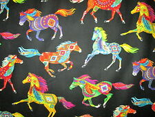 NATIVE AMERICAN HORSE TOTEM SPIRIT ANIMALS BRIGHT COTTON FABRIC FQ
