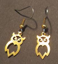 Owl Open Earrings 24 Karat Gold Plate Wise Old Owls Hoot Barn