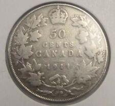 Canada 50 cents silver coin 1911 VG