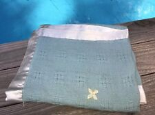 Vintage Soft Wool? Woven Fleece Blue BABY BLANKET Floral Embroidery Satin Trim