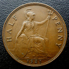 GREAT BRITAIN 1931 KING GEORGE VI HALF PENNY 88 YEARS OLD CANADA SHIP $1.99 US