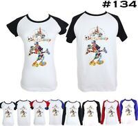 Disney Mickey Mouse Castle Design Couples T-shirt Mens Womens Graphic Tees Tops