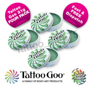 Tattoo Goo Original Aftercare Salve 4 x Large Tins QUAD PACK Heals & Protects