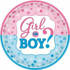 BOY OR GIRL GENDER REVEAL TABLEWARE 17CM PAPER PLATES