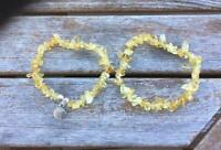Genuine Citrine Stone Stackable Bracelet Set, Shell Charm, Chip Nugget Freeform