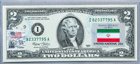 Paper Money US Currency Notes Two Dollar Bill Federal Reserve Stamp Country Flag