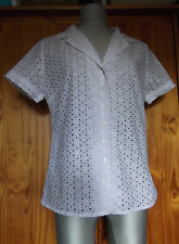 Figleaves Size S 8 10 Broderie Anglaise Cotton Pyjama Top Night Wear White