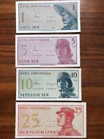Set Indonesien 1 5 10 25 Sen 1964 UNC kassenfrisch bankfrisch