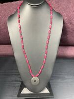 Vintage Necklace Signed Chicos Matte silver Bright Pink Rhinestone Pendant  28""
