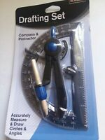 Drafting Set Compass & Protractor Academic Accurately Measure Draw Circles Blue