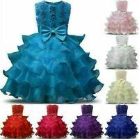 Floral Girl Princess Dress Baby Xmas Party Wedding Bridesmaid Formal Tutu Dress