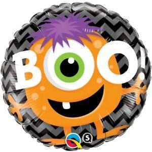 "18"" Inch 46 Cm Qualatex Balloon Round Foil Boo! Monster Chevron Party Supplies"