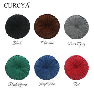CURCYA Round Velvet Pillow Home Sofa Decorative Throw Pillows Cushions 36cm