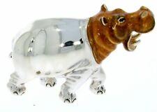 More details for sterling silver & enamel medium hippopotamus by saturno wildlife animal