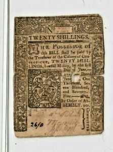"""20 SHILLINGS """"OLD COLONIAL"""" 1775  RARE!! (20 SHILLINGS) """"OLD COLONIAL"""" 1775"""
