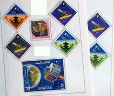JORDAN 1965 SPACE Cpl XF Perf + Imperf MNH** Sets + Sheet, Rocket, Satellite