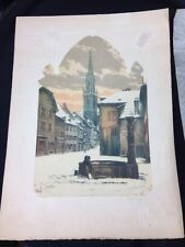 """Vintage Victor Veley, """"A Village in France"""", Etching with Embossed Border c.1925"""