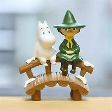 New Cartoon Moomin valley Hippo Muumi Snufkin on the bridge Figure figurine Gift