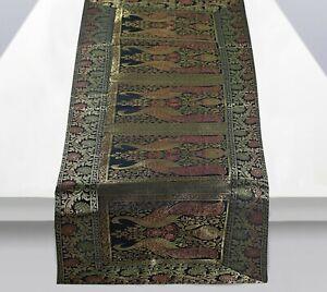 "Indien Silk Brocade Peacock Black Table Runner Kitchen Decor Tablecloth 60x16"""