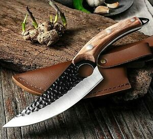 Chef Boning Knife with Finger Hole Kitchen Cleaver BROWN Wood Handle Hunting NEW