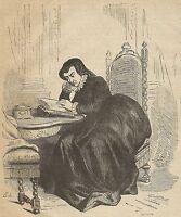 A3372 Caterina dei Medici legge un libro - Stampa Antica del 1887 - Xilografia