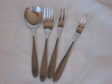PAUL WIRTHS STAINLESS GLOSSY CROSSED  LINES FORKS, SERVE SPOON   4 PIECES