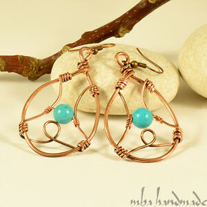Artisan Natural Stone Turquoise Crystals Copper Wire Wrapped Earrings
