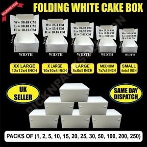 White Folding Cardboard Cake Box / Cupcake Boxes /Wedding / Birthday - ALL SIZES