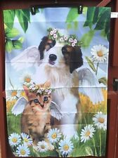 Large Outdoor Yard Flag Kitten Cat Dog Puppy Pet Angel Daisy Flower Memorial New
