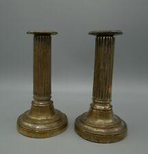 Paire de bougeoirs en bronze argenté, Empire, forme colonne, XIXème siècle