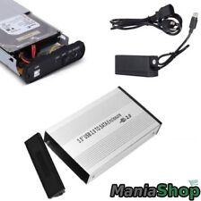 CASE BOX HDD ESTERNO PER HARD DISK 3.5 IDE SATA USB 2.0 ALLUMINIO ALIMENTATORE