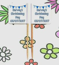 24 Personalised CHRISTENING Party BUNTING FLAG PICK Cup Cake Topper Decoration