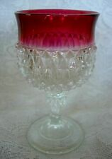 Vintage Ruby Red Stained & Crystal Diamond Point Goblet