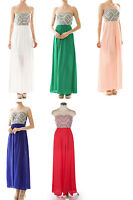 Pack Beach Bridal Wedding Vacation Strapless Embroidey Tribal Maxi Dress S/M/L