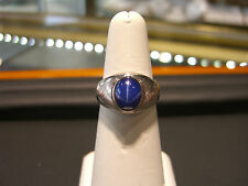 FINE NEW MEN'S STAR SAPPHIRE WHITE GOLD RING 14 KARAT WOW!
