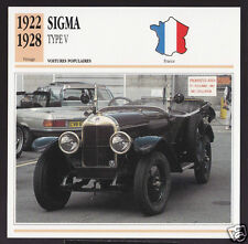 1922-1928 Sigma Type V Car Photo Spec Sheet Info Stat French Atlas Card