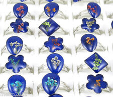 10pcs Wholesale Flower Mixed Style Changeable Color Mood Rings Adjustable