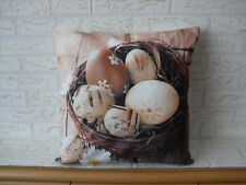 Kissenhülle, Kissenbezug, Dekokissen,  Eier im Weidekorb  40x40 cm, Ostern