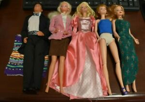 Lot of 5 / Five  1999, 1966 & 1968 Indonesia Barbie & Ken Dolls. As Found