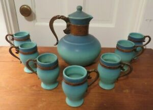 Rare Van Briggle pottery carafe w 7 cups 1930 copper handles Mission Arts Crafts