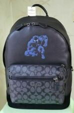 Coach Marvel West Backpack Black Panther Sign Canvas Leather 2408 Retail 650