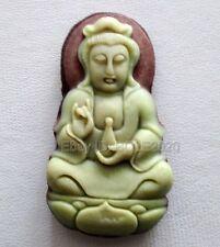 Chinese ZiPaoYu Purple Jade Carved Bottle Kwan-Yin Lucky Pendant + Rope Necklace