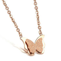 Butterfly Dull Polish Rose Gold GP Surgical Stainless Steel Pendant w/ Necklace