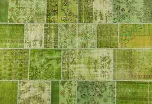 CUSTOM MADE green vintage Overdyed Handmade Turkish Patchwork Carpet rug