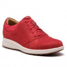 Clarks Un Adorn Lace Red Combi Nubuck Leather Womens Shoes UK Size 6/39.5 D