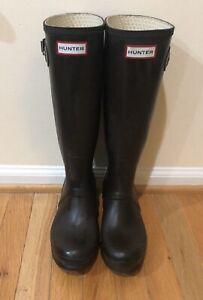 Hunter Women's Original Tall Waterproof Rain Boot Dark Deep Brown Size US 5M/6F