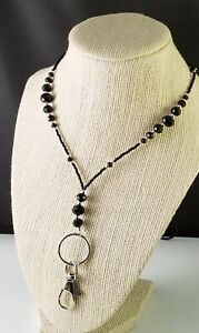 Black & Silver~Handmade Lanyard, Badge, ID Holder, Keychain