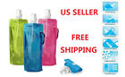 1-Pack Colorful BPA Free 16oz Collapsible Blue Water Bottle with Carabiner Clip