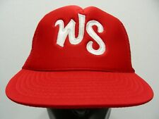 720c3f1990ff0 WS LOGO - RED - ONE SIZE TRUCKER STYLE ADJUSTABLE SNAPBACK BALL CAP HAT!