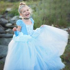 Kids Girls Princess Birthday Party Dress Cinderella Halloween Costume Blue Gown